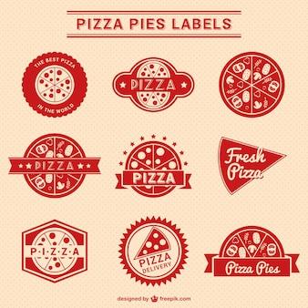 Colección de etiquetas rojas de pizza