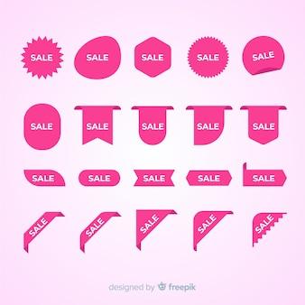 Colección de etiquetas rosa de ventas