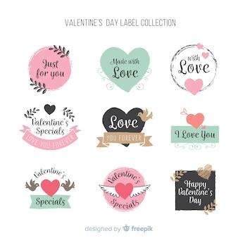 Colección etiquetas san valentín colores pastel