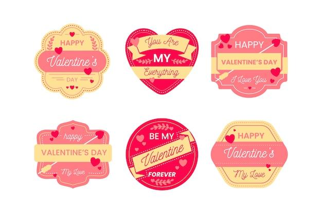 Colección de etiquetas de san valentín en diseño plano