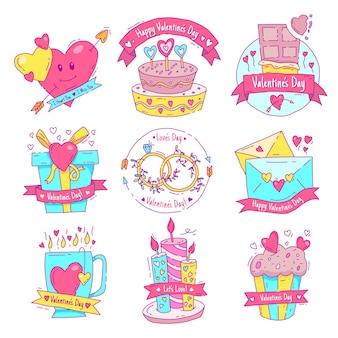 Colección de etiquetas de san valentín estilo dibujado a mano