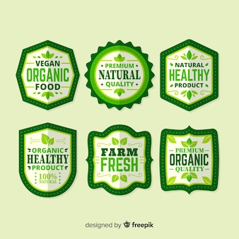 Colección etiquetas simples comida orgánica