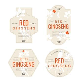 Colección de etiquetas de tarro de ginseng