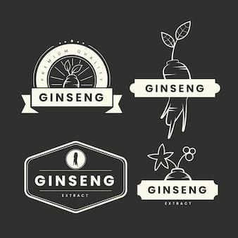 Colección de etiquetas de tarros de ginseng