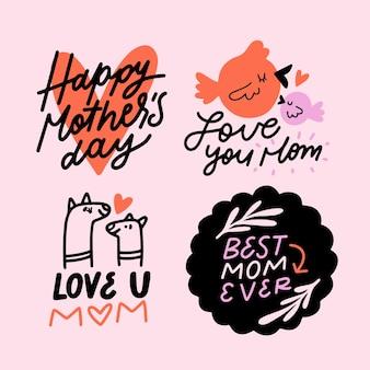 Colección de etiquetas con tema del día de la madre