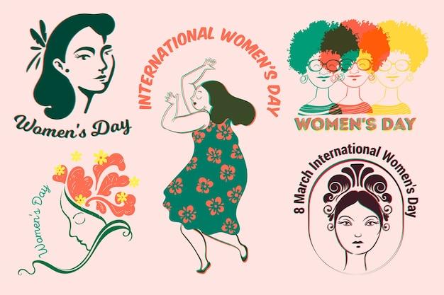 Colección de etiquetas con tema del día de la mujer