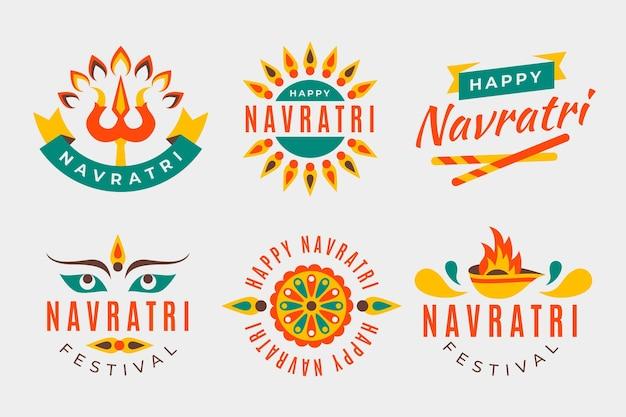 Colección de etiquetas tradicionales navratri