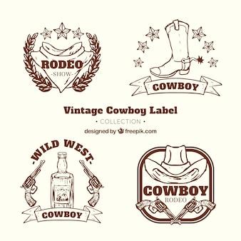 Colección de etiquetas de vaquero