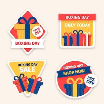 Colección de etiquetas de venta de boxing day dibujadas