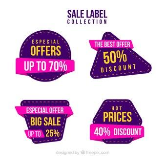 Colección de etiquetas de venta en colores diferentes
