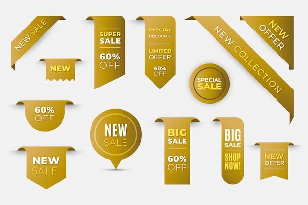 Colección de etiquetas de venta de compras realistas doradas