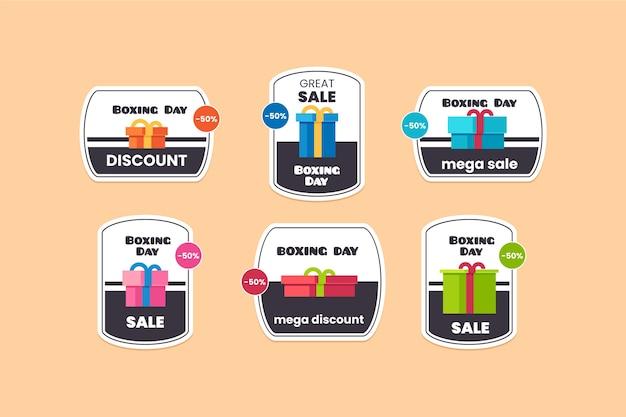 Colección de etiquetas de venta de día de boxeo plano