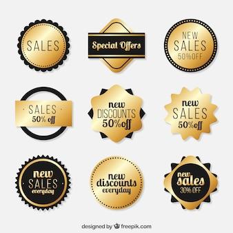 Colección de etiquetas de venta dorada
