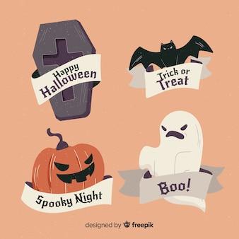 Colección de etiquetas de venta de halloween dibujadas a mano