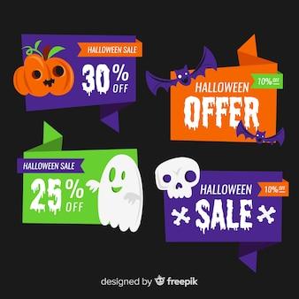 Colección de etiquetas de venta de halloween plana sobre fondo negro