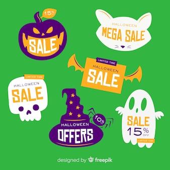 Colección de etiquetas de venta de halloween plana sobre fondo verde