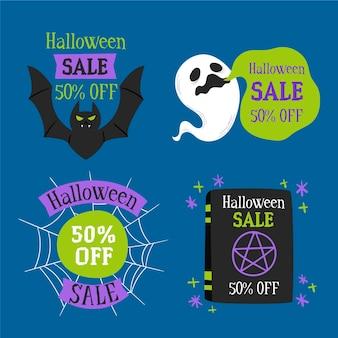 Colección de etiquetas de venta de halloween