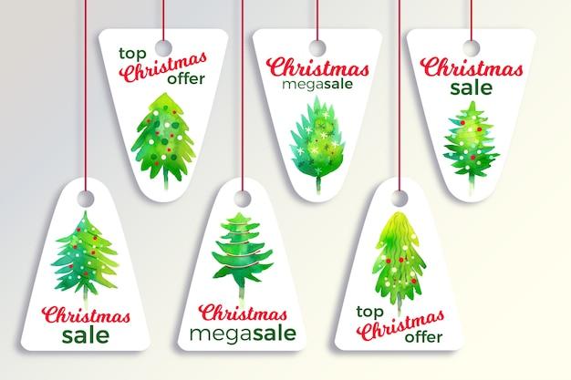 Colección de etiquetas de venta de navidad de acuarela