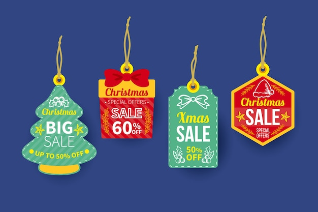 Colección de etiquetas de venta de navidad dibujadas a mano