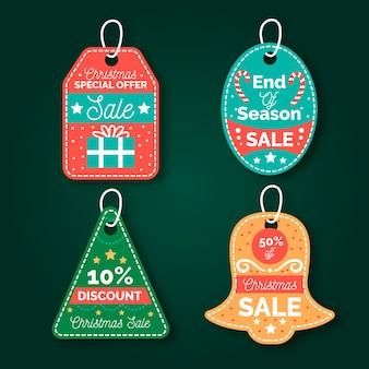 Colección de etiquetas de venta de navidad dibujado a mano