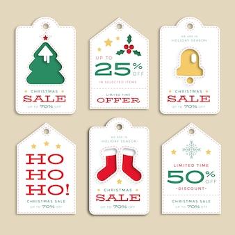 Colección de etiquetas de venta de navidad de diseño plano