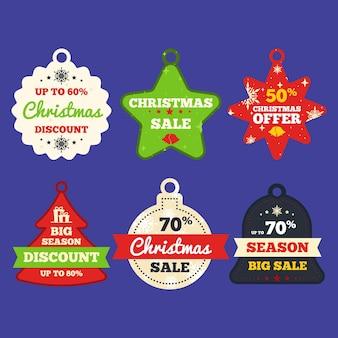 Colección de etiquetas de venta para navidad en diseño plano