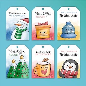 Colección de etiquetas de venta de navidad estilo acuarela