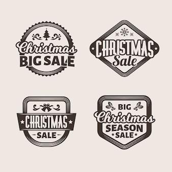 Colección de etiquetas de venta de navidad vintage