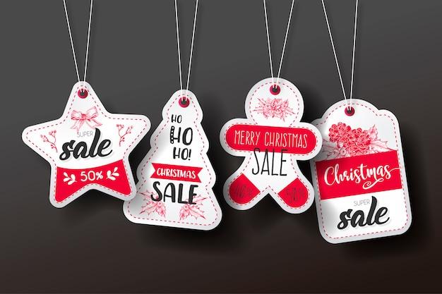 Colección de etiquetas de venta de navidad