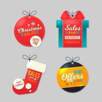 Colección de etiquetas de venta navideña en papel