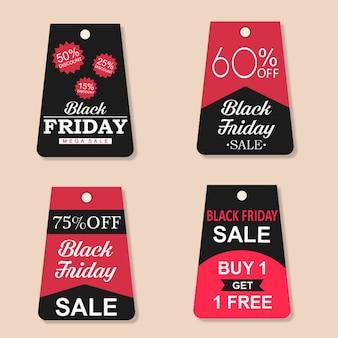 Colección de etiquetas de venta de viernes negro