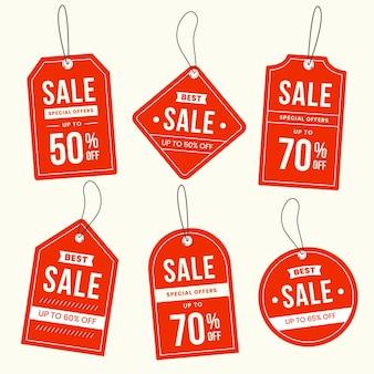 Colección de etiquetas de ventas de diseño plano