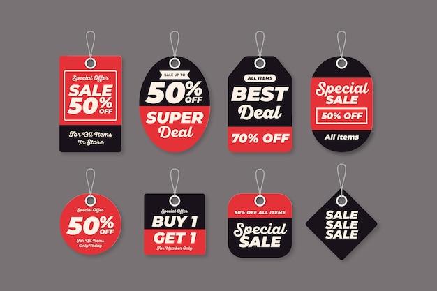 Colección de etiquetas de ventas planas.