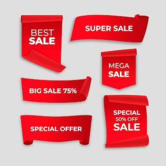 Colección de etiquetas de ventas realistas