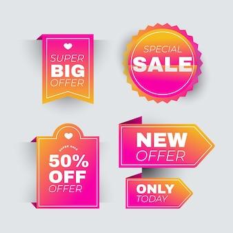 Colección de etiquetas de ventas rosa realista