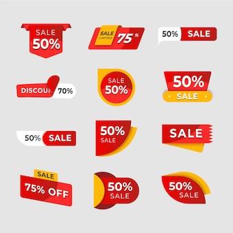 Colección de etiquetas de ventas.