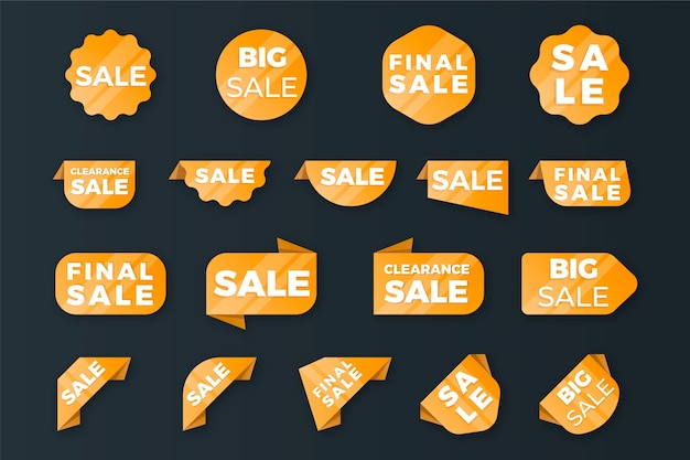 Colección de etiquetas de ventas