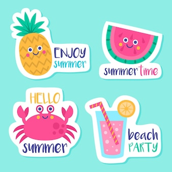 Colección de etiquetas de verano dibujadas a mano estacionales