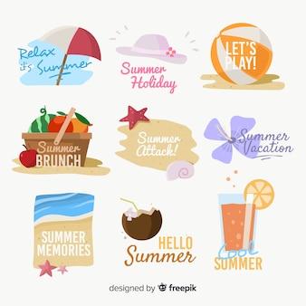Colección etiquetas verano dibujadas a mano