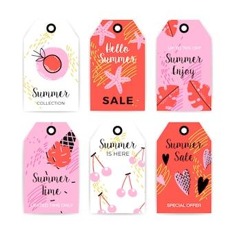 Colección de etiquetas de verano dibujadas a mano.