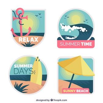 Colección de etiquetas de verano en diseño plano