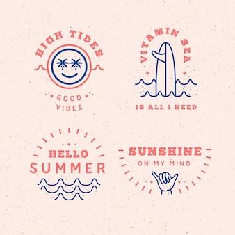 Colección de etiquetas de verano de diseño plano