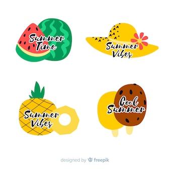 Colección de etiquetas de verano flat