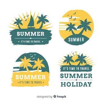 Colección etiquetas verano siluetas de palmera dibujadas a mano