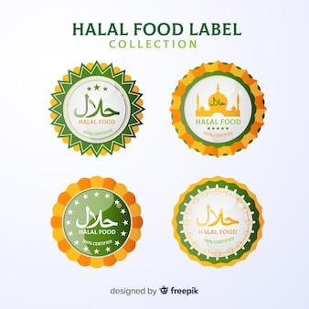 Colección de etiquetas verde de comida halal con diseño plano