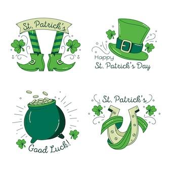 Colección de etiquetas verdes del día de san patricio con objetos de la suerte