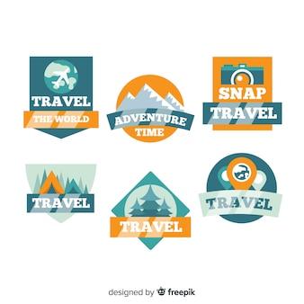 Colección etiquetas de viajes planas vintage