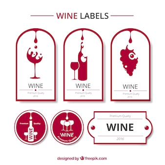 Colección de etiquetas de vino rojas y blancas