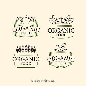 Colección etiquetas vintage comida orgánica
