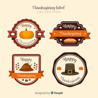 Colección de etiquetas vintage del día de acción de gracias